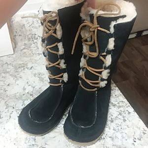 Ugg black lace up winter boots.